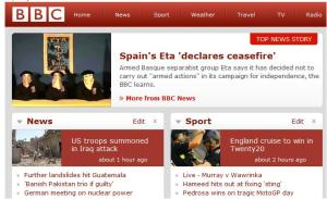 Màxima rellevància de l'anunci a la pàgina web en anglès de la BBC, 5 de setembre de 2010