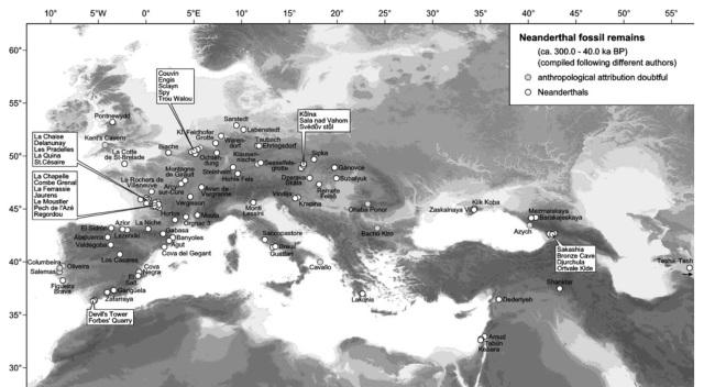 mapa neandertales
